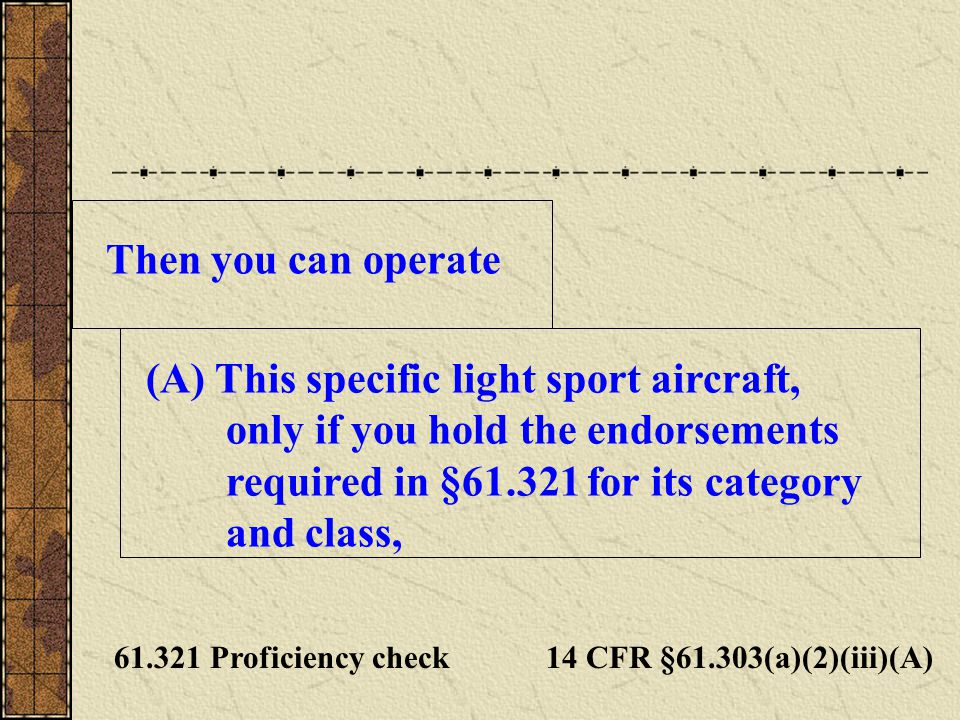 This specific light sport aircraft, only if you hold the endorsements