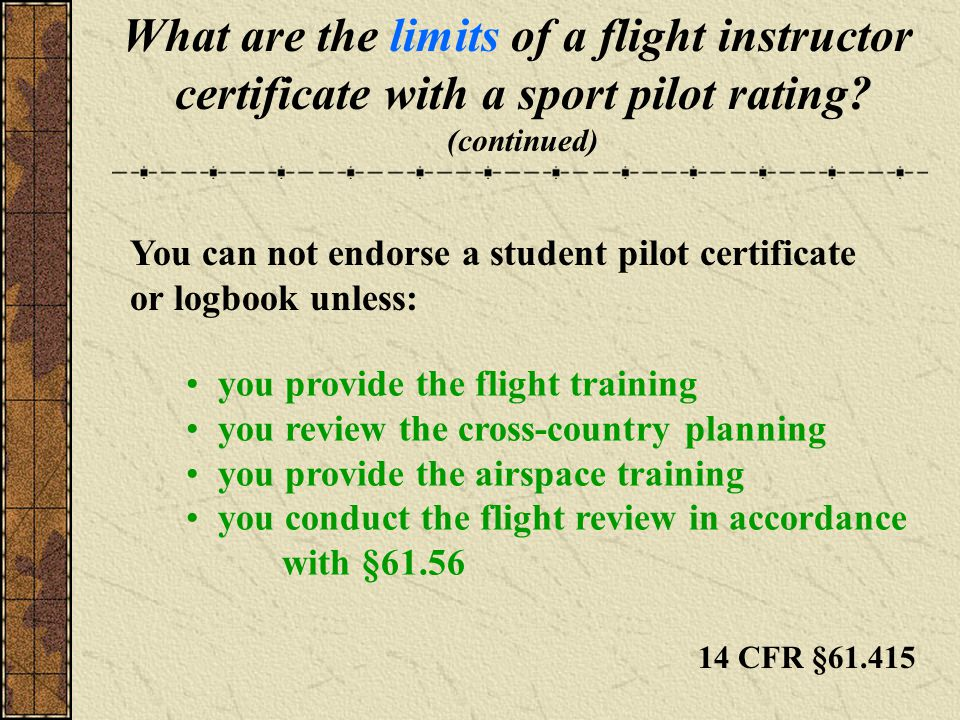 What are the limits of a flight instructor