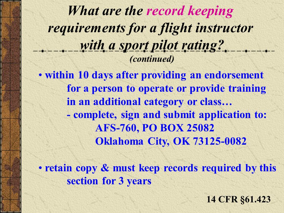 What are the record keeping requirements for a flight instructor