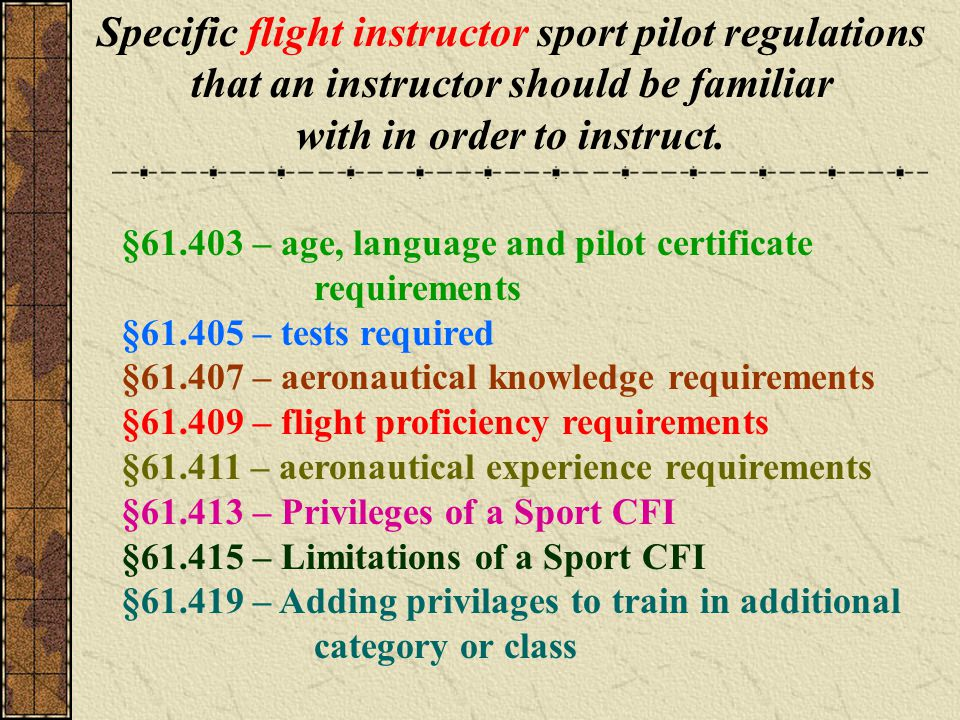 Specific flight instructor sport pilot regulations