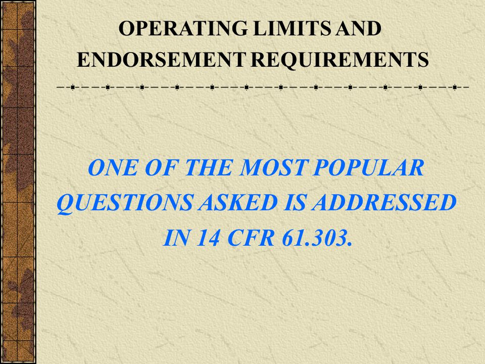 ENDORSEMENT REQUIREMENTS QUESTIONS ASKED IS ADDRESSED