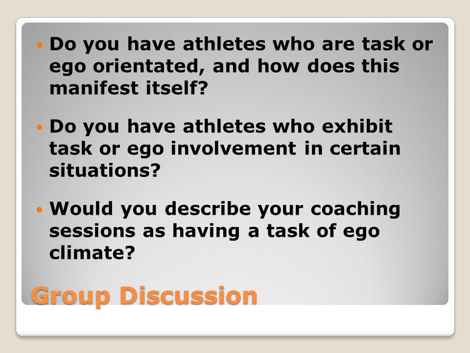 Do you have athletes who are task or ego orientated, and how does this manifest itself
