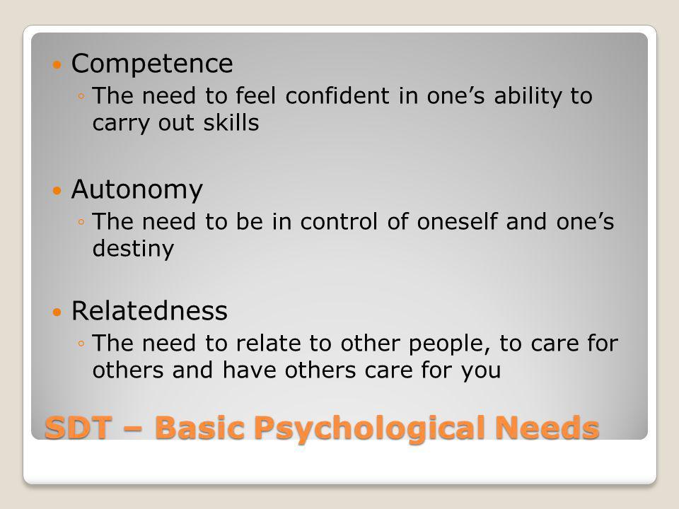 SDT – Basic Psychological Needs