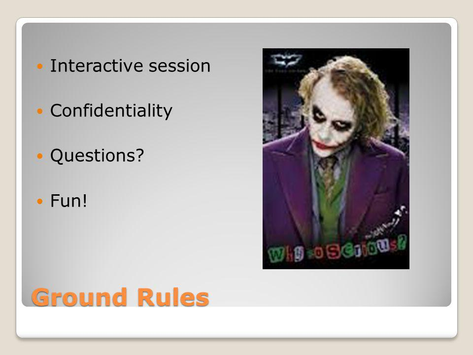 Interactive session Confidentiality Questions Fun! Ground Rules
