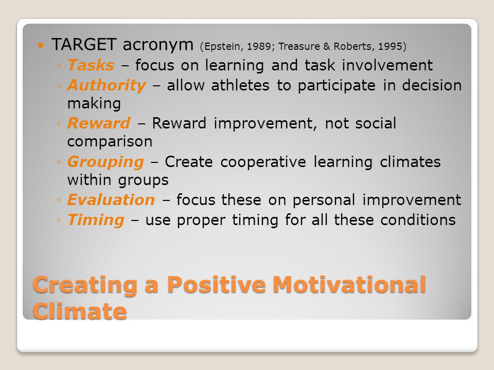 Creating a Positive Motivational Climate