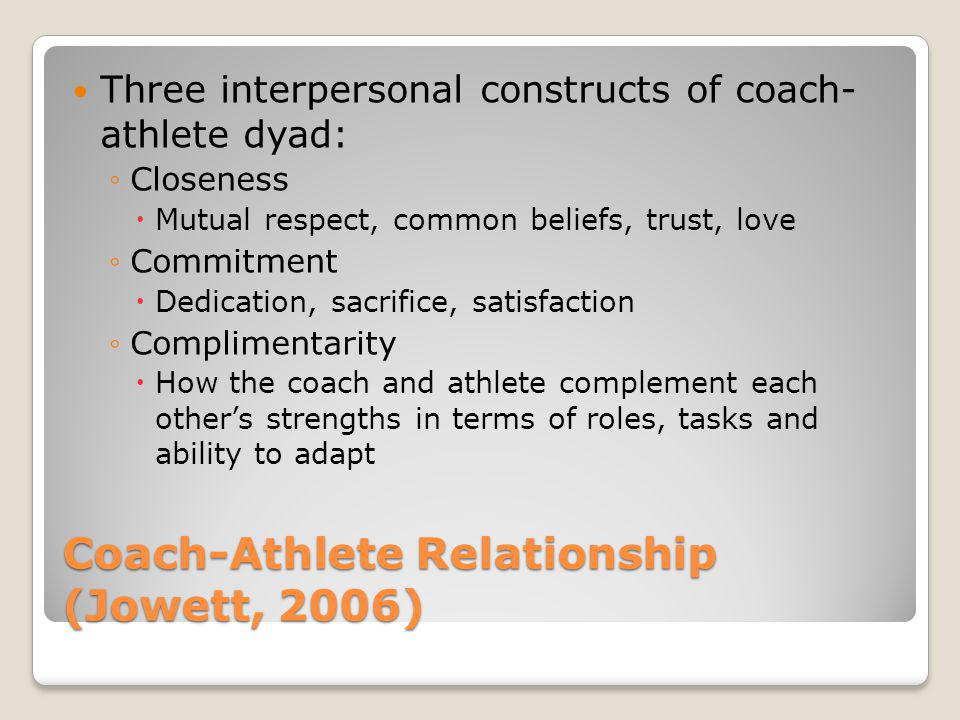 coach player athlete relationship Build effective coach-parent relationships  and have a successful experience as an athlete in the process, both coach and  no player arrives devoid.