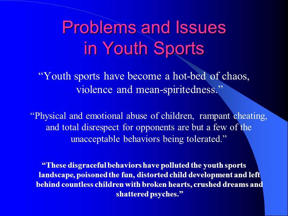the issues on sports Through out the history of women in sport, opportunity has increased many  athletes and coaches are presented with the issue of sexual.