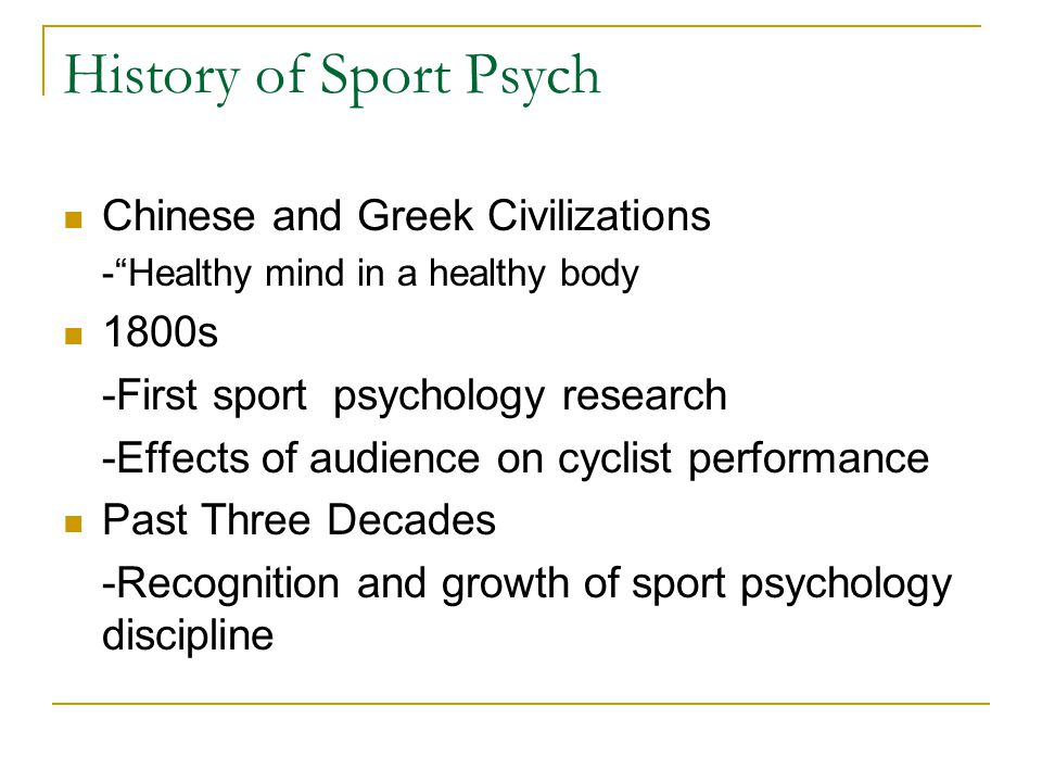 History of Sport Psych Chinese and Greek Civilizations 1800s