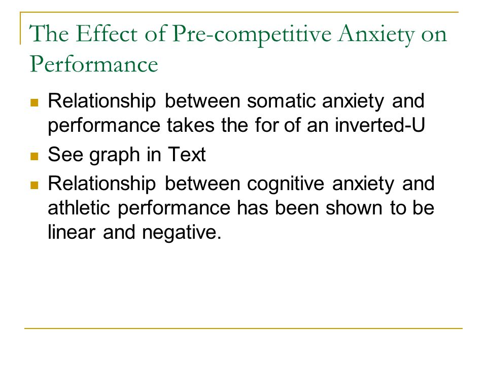 the effect of anxiety on an athletes performance psychology essay Effects of a motivational climate intervention for coaches on young athletes' sport performance anxiety.
