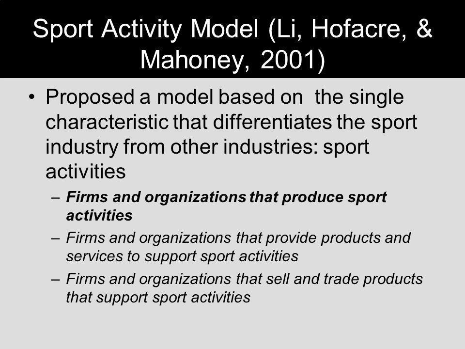 Sport Activity Model (Li, Hofacre, & Mahoney, 2001)