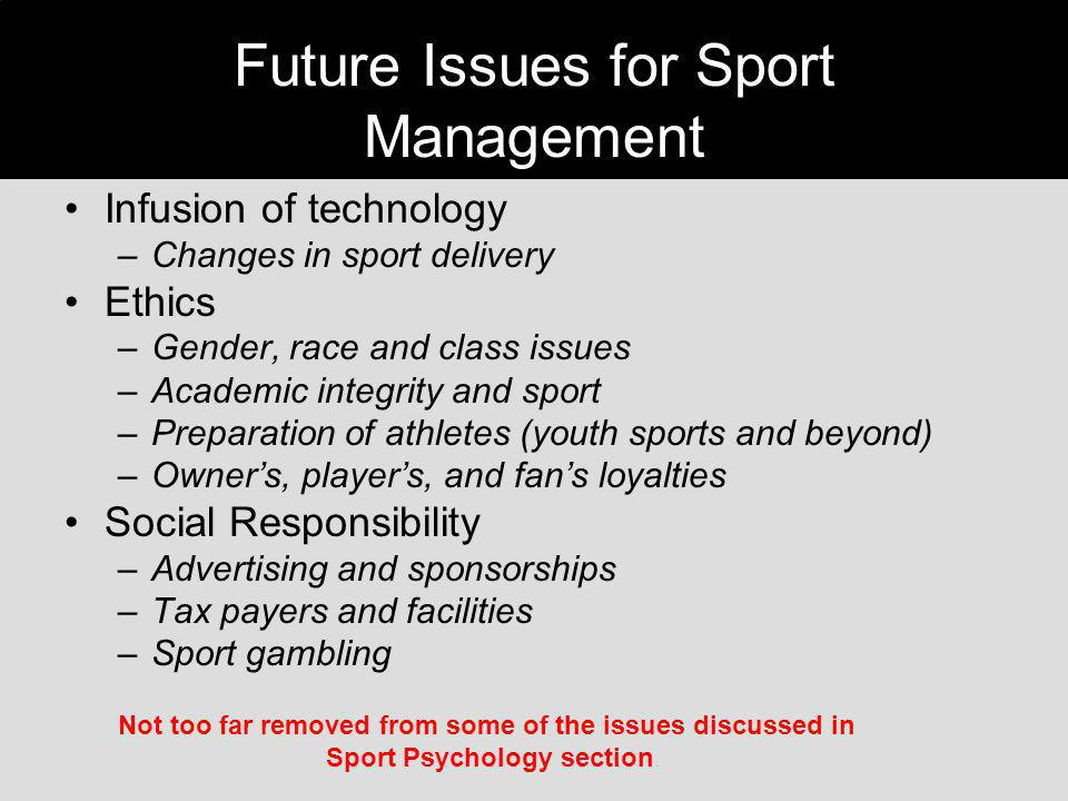 Future Issues for Sport Management