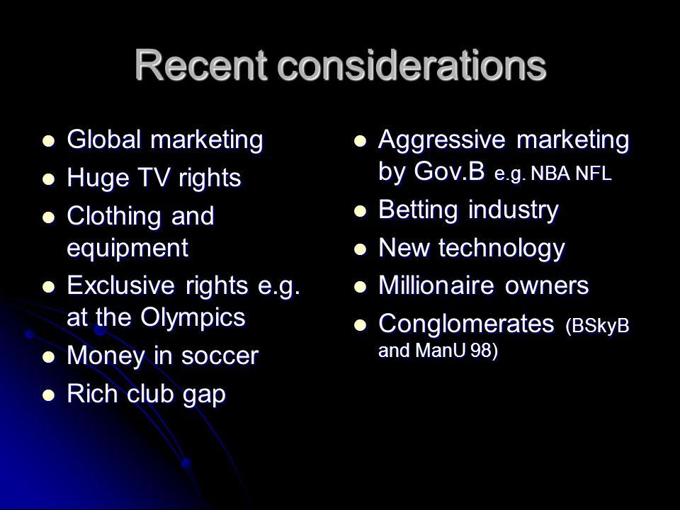Recent considerations