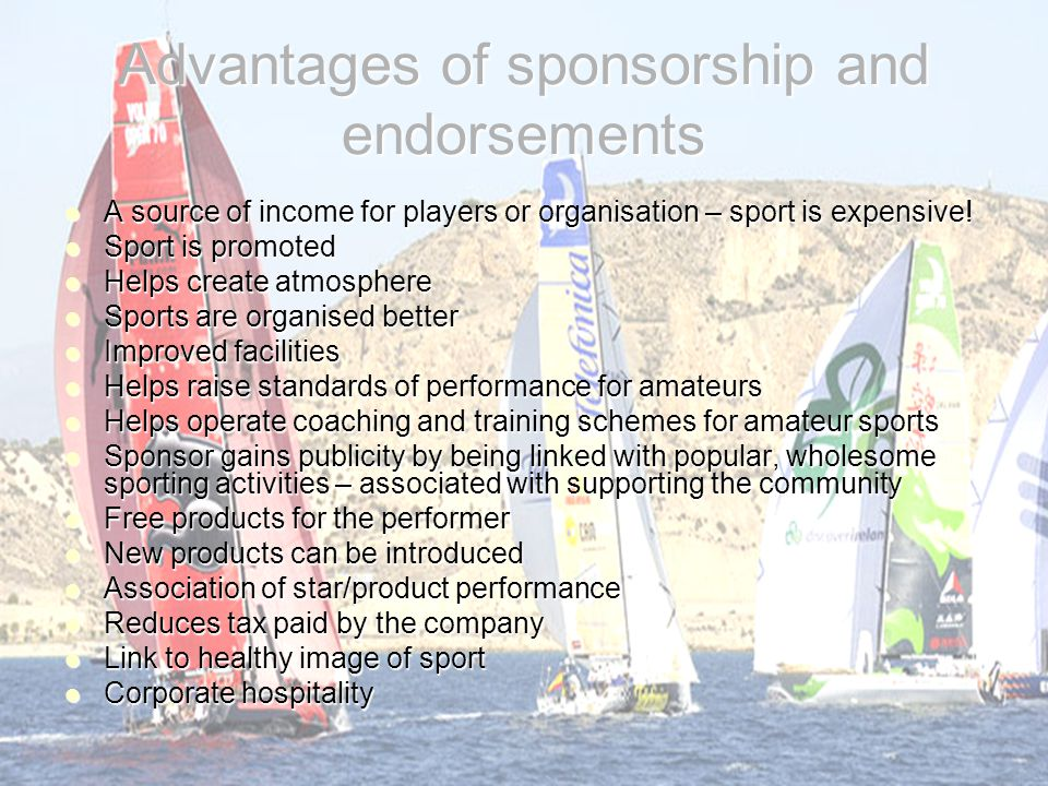 Advantages of sponsorship and endorsements