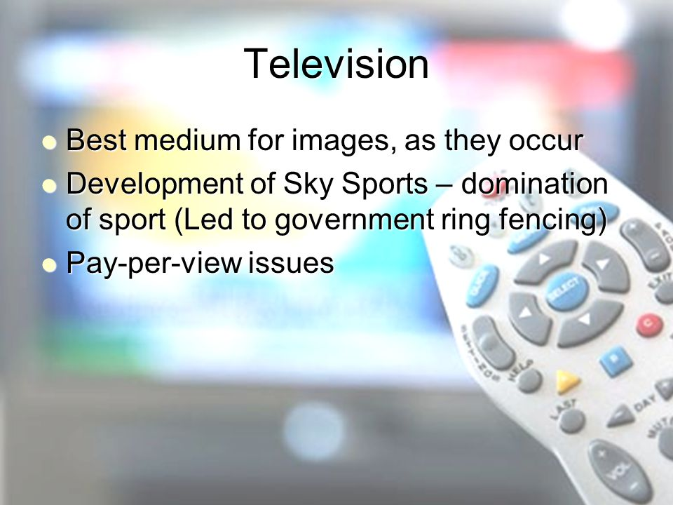 Television Best medium for images, as they occur