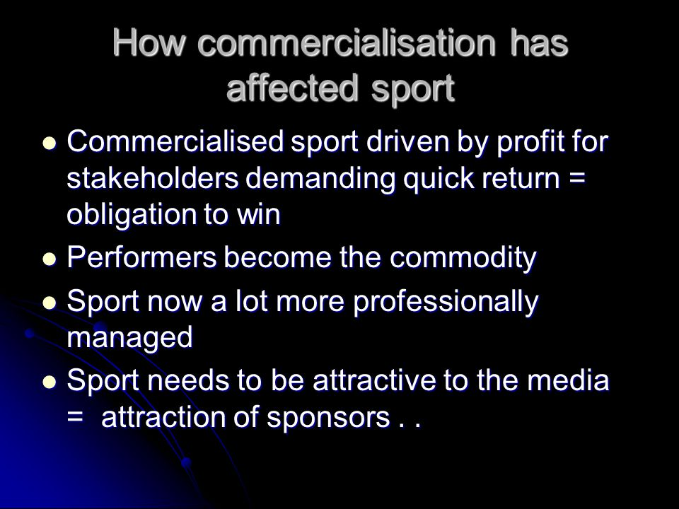 How commercialisation has affected sport