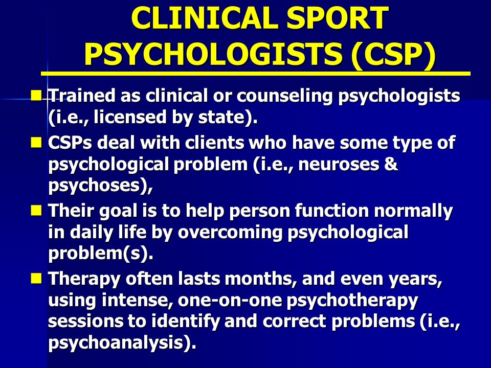 CLINICAL SPORT PSYCHOLOGISTS (CSP)