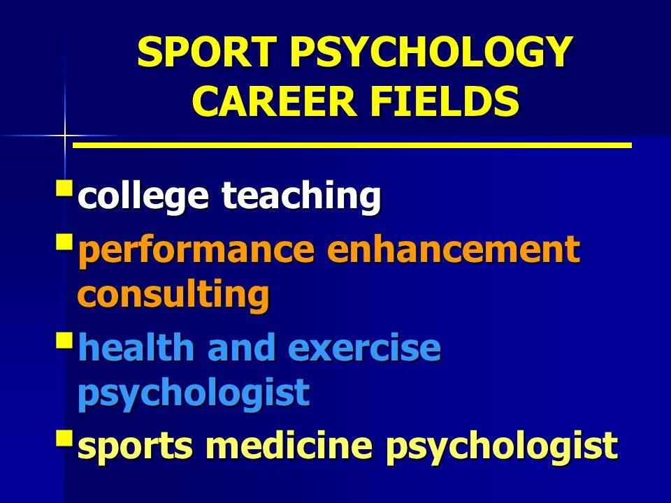 SPORT PSYCHOLOGY CAREER FIELDS