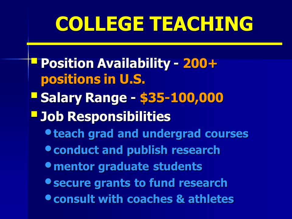 COLLEGE TEACHING Position Availability - 200+ positions in U.S.