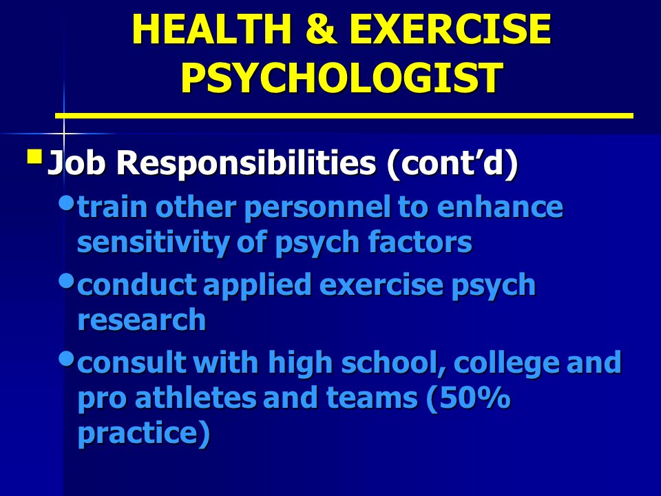 HEALTH & EXERCISE PSYCHOLOGIST