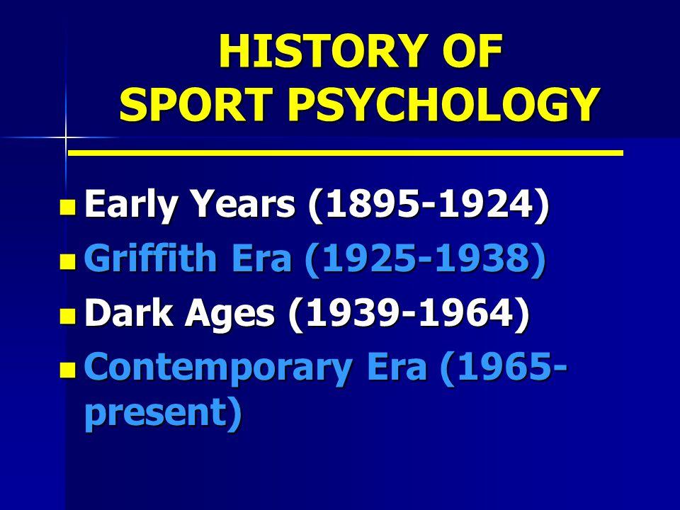 HISTORY OF SPORT PSYCHOLOGY