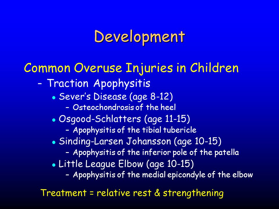 Development Common Overuse Injuries in Children Traction Apophysitis
