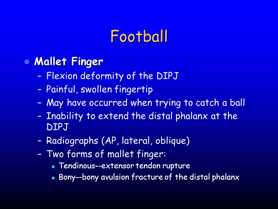 Football Mallet Finger Flexion deformity of the DIPJ