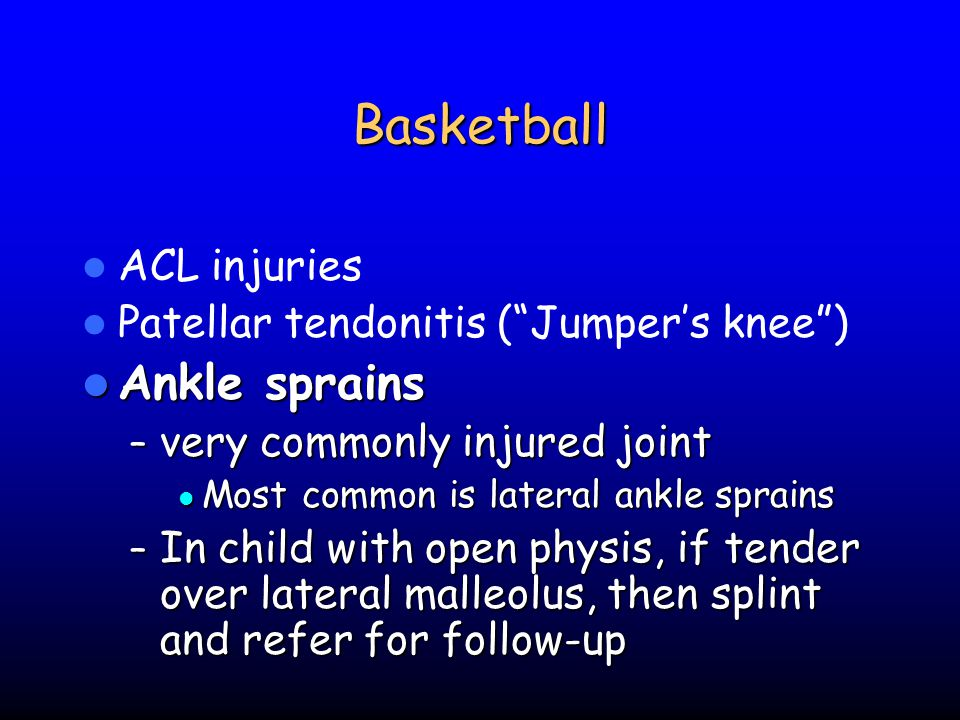 Basketball Ankle sprains ACL injuries