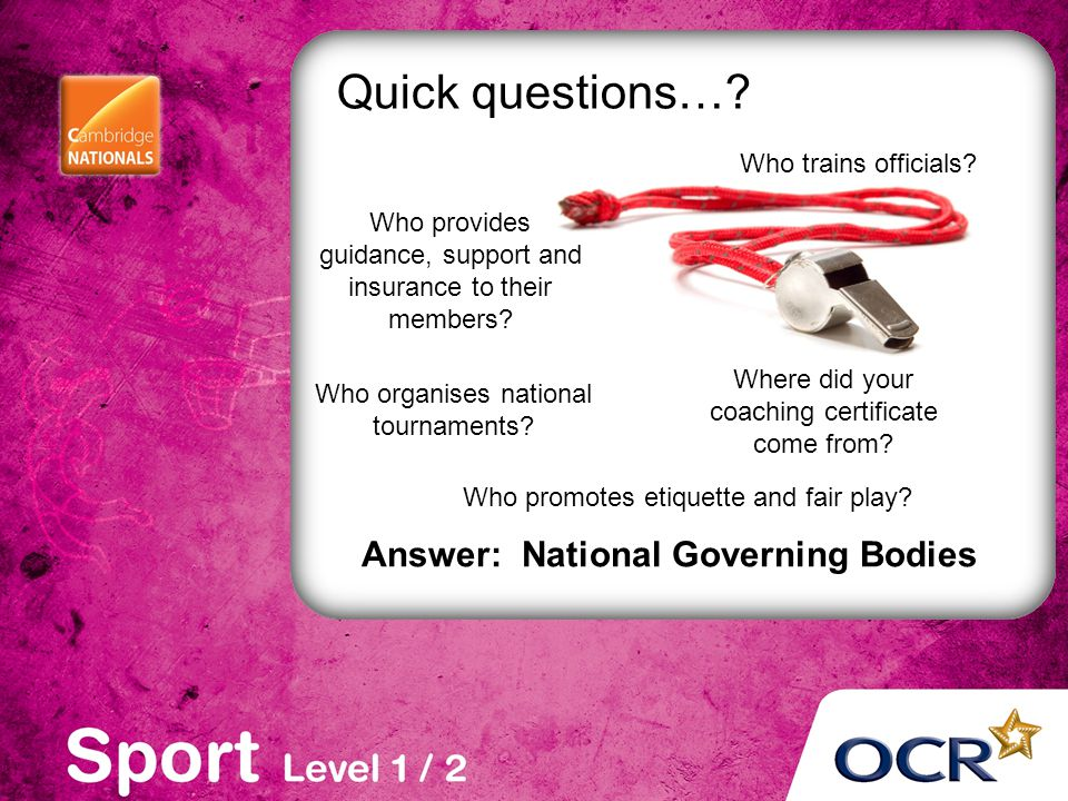 Answer: National Governing Bodies