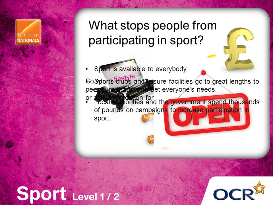 What stops people from participating in sport