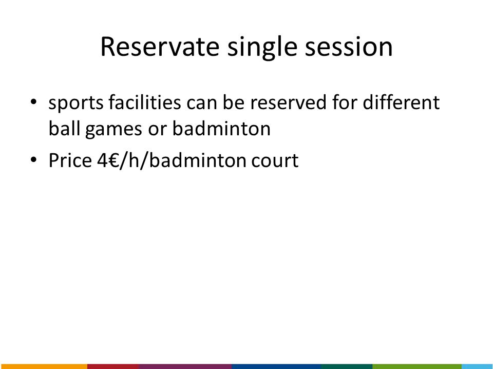 Reservate single session