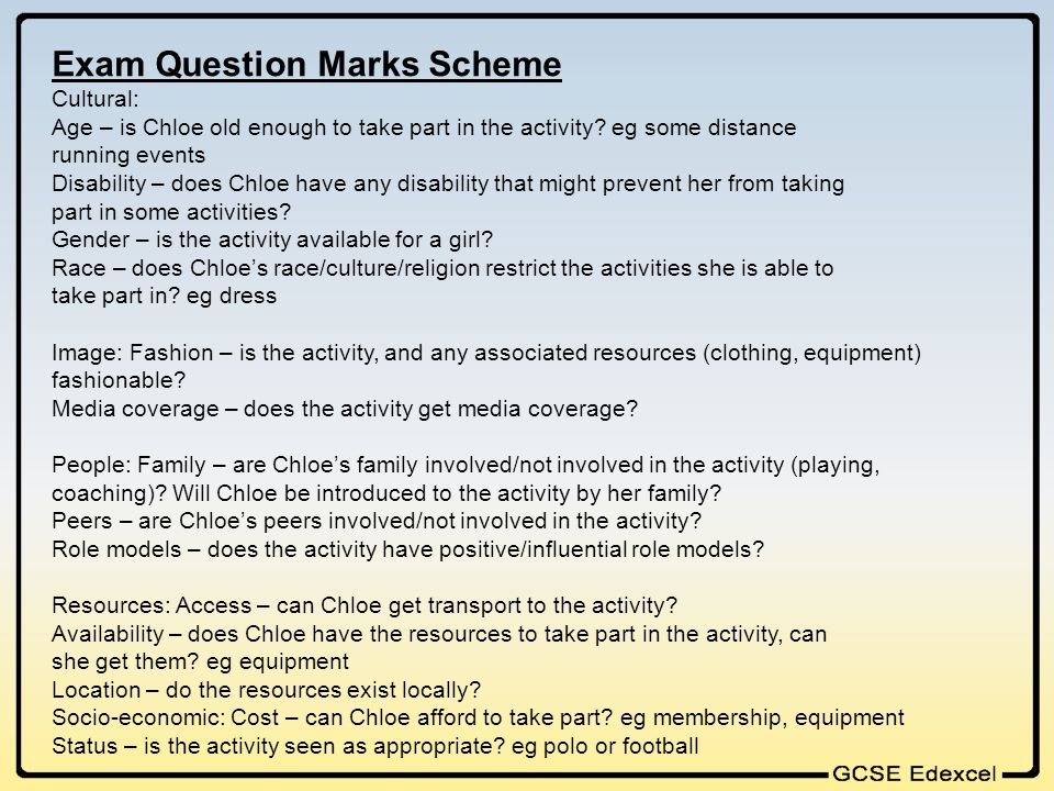 Exam Question Marks Scheme