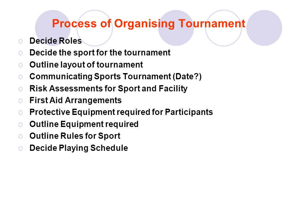 Process of Organising Tournament