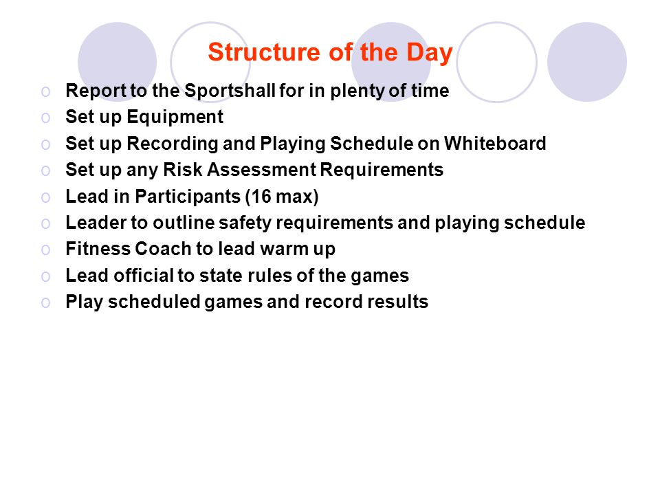 Structure of the Day Report to the Sportshall for in plenty of time