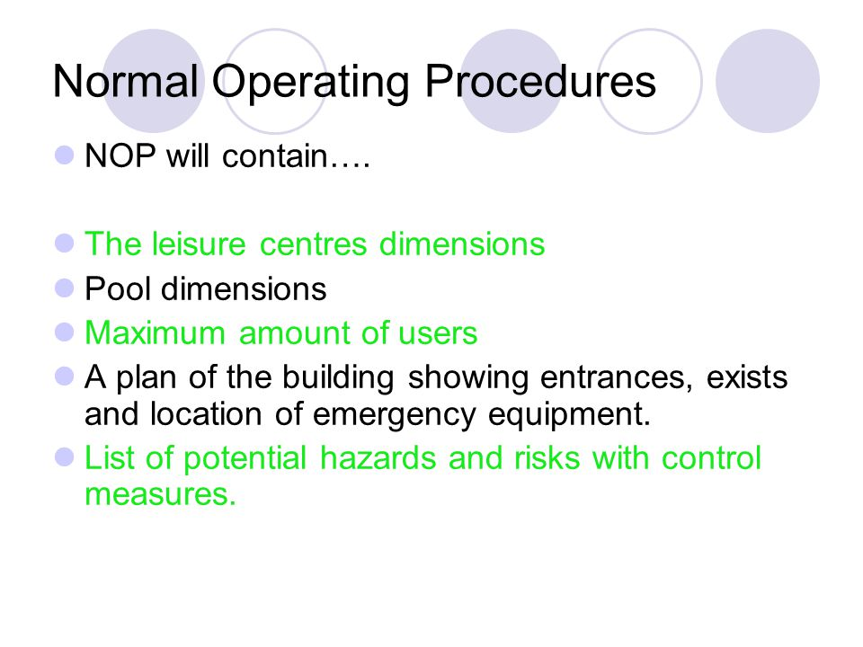 Normal Operating Procedures