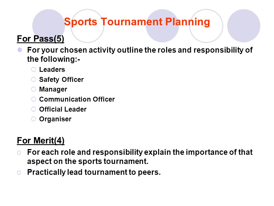 Sports Tournament Planning