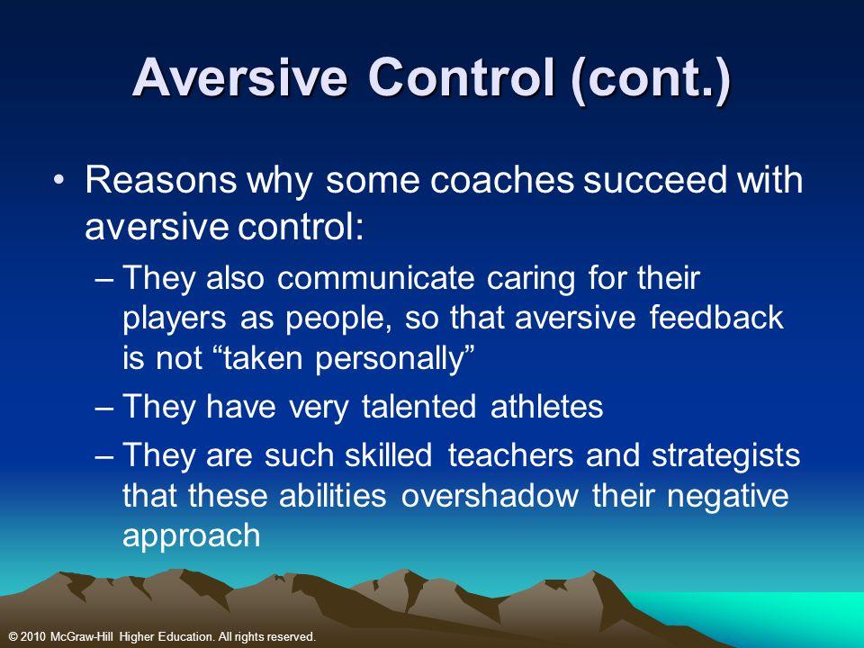 Aversive Control (cont.)