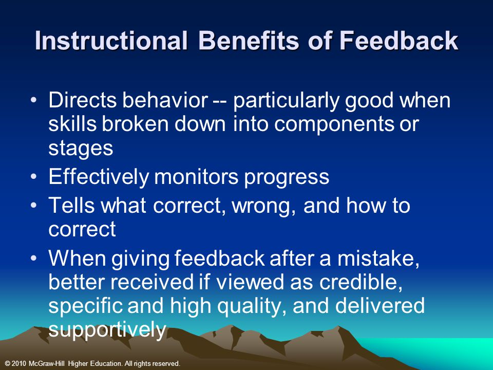 Instructional Benefits of Feedback