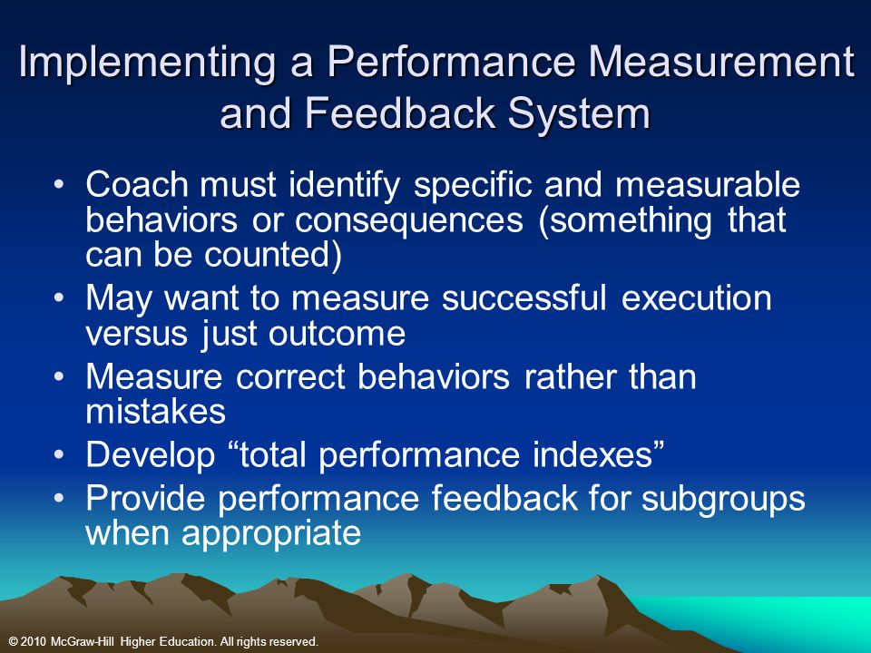 Implementing a Performance Measurement and Feedback System