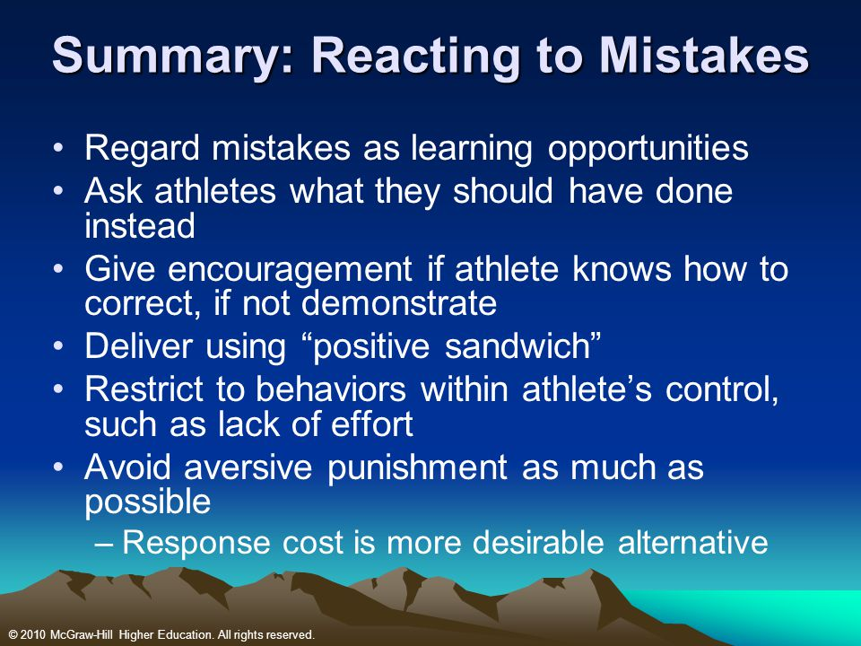 Summary: Reacting to Mistakes
