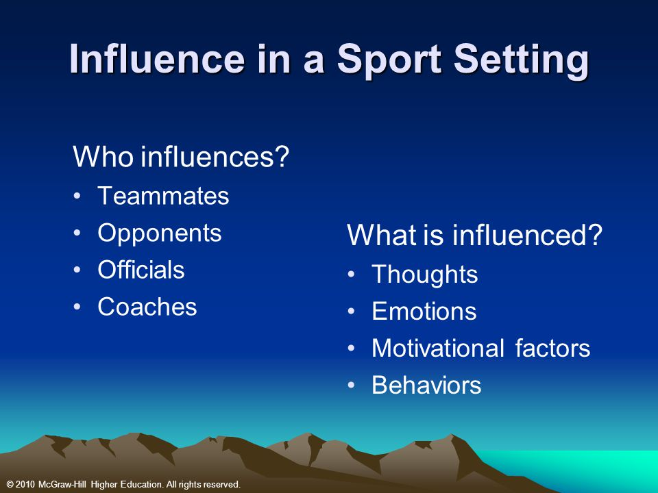 Influence in a Sport Setting