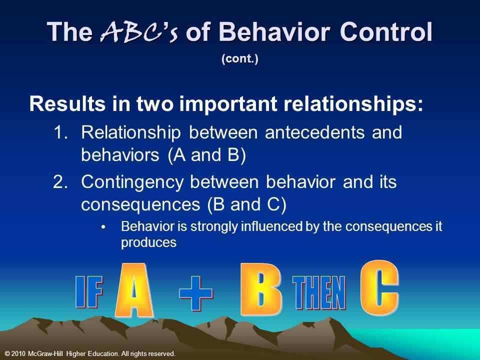 The ABC's of Behavior Control (cont.)