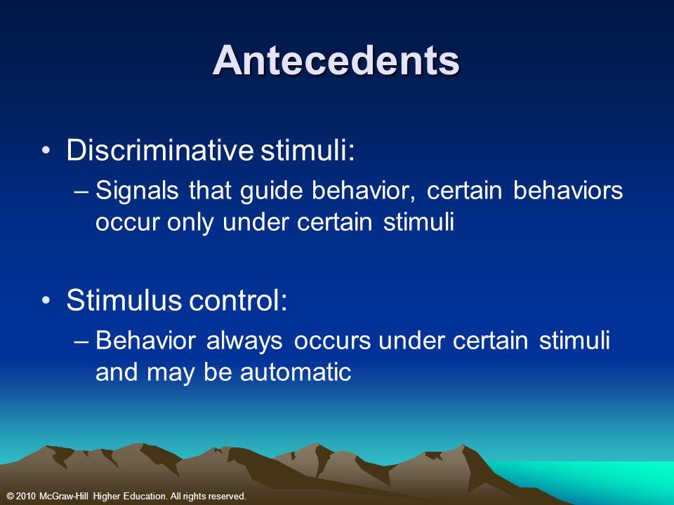 Antecedents Discriminative stimuli: Stimulus control: