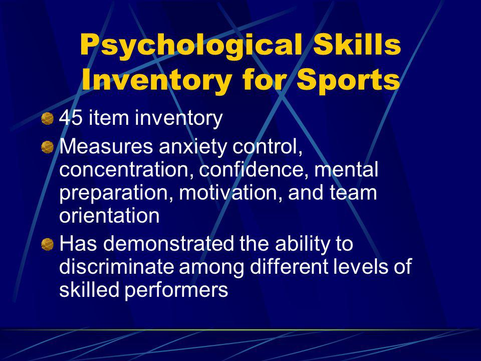 Psychological Skills Inventory for Sports