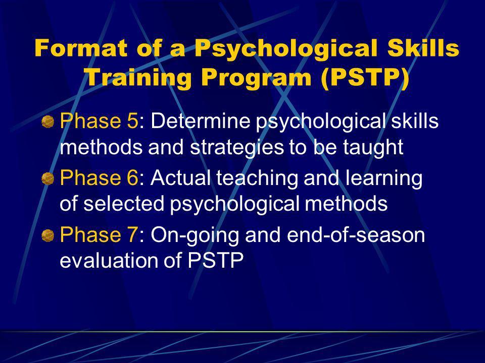 Format of a Psychological Skills Training Program (PSTP)