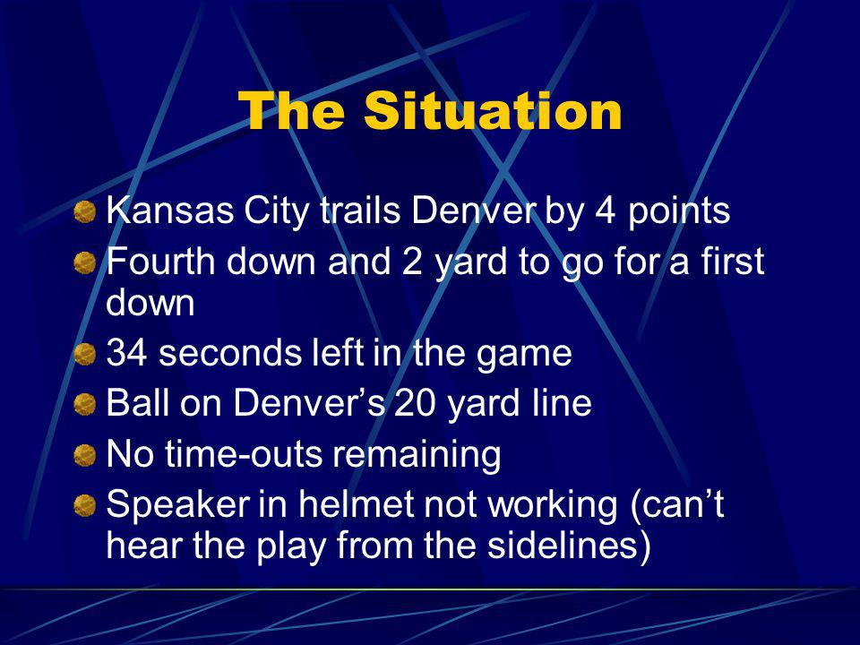 The Situation Kansas City trails Denver by 4 points
