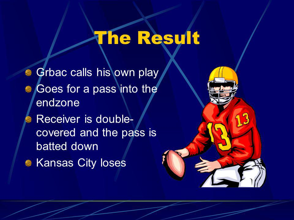The Result Grbac calls his own play Goes for a pass into the endzone