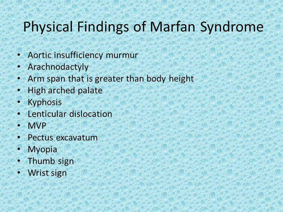 Physical Findings of Marfan Syndrome