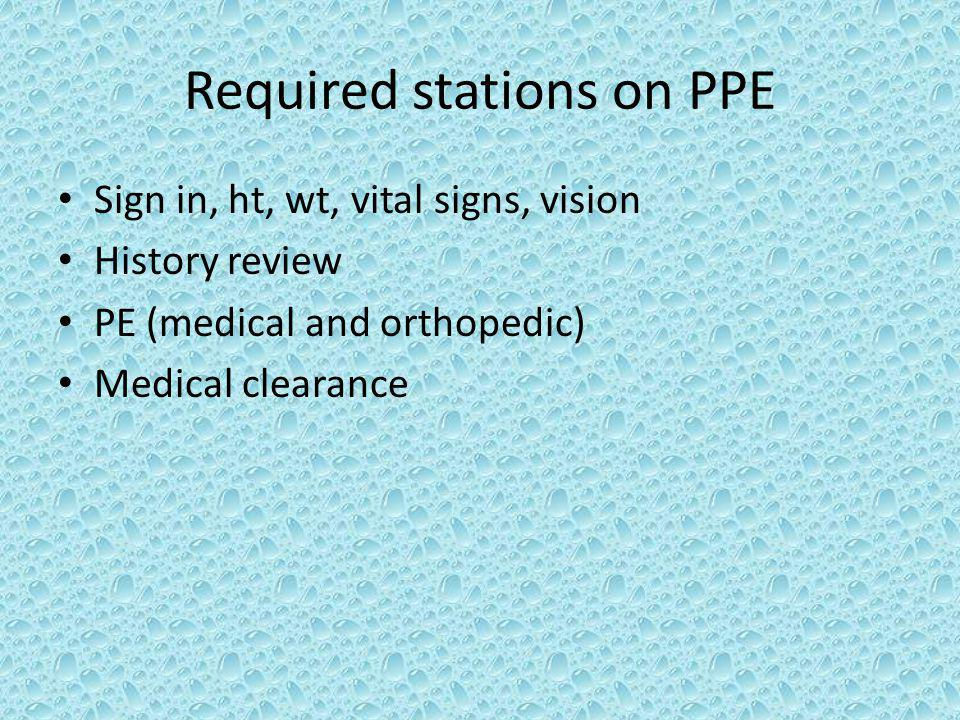 Required stations on PPE