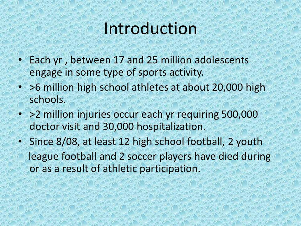 Introduction Each yr , between 17 and 25 million adolescents engage in some type of sports activity.