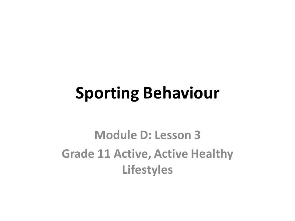 Module D: Lesson 3 Grade 11 Active, Active Healthy Lifestyles